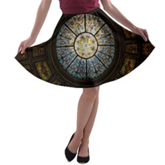 Black And Borwn Stained Glass Dome Roof A Line Skater Skirt by Nexatart
