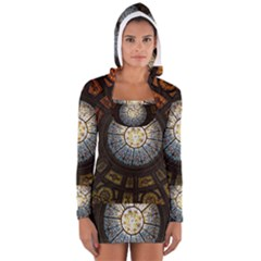 Black And Borwn Stained Glass Dome Roof Women s Long Sleeve Hooded T Shirt by Nexatart