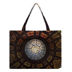 Black And Borwn Stained Glass Dome Roof Medium Tote Bag by Nexatart
