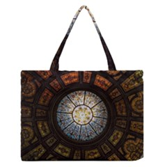Black And Borwn Stained Glass Dome Roof Medium Zipper Tote Bag by Nexatart