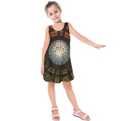 Black And Borwn Stained Glass Dome Roof Kids  Sleeveless Dress by Nexatart