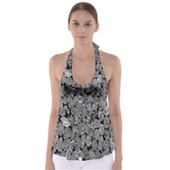 Black And White Art Pattern Historical Babydoll Tankini Top