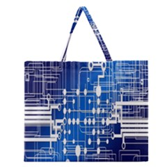 Board Circuits Trace Control Center Zipper Large Tote Bag by Nexatart