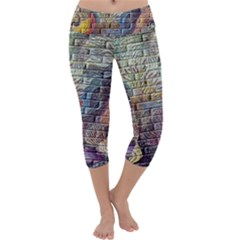 Brick Of Walls With Color Patterns Capri Yoga Leggings by Nexatart