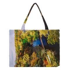 Bridge River Forest Trees Autumn Medium Tote Bag by Nexatart