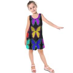 Butterflies Pattern Kids  Sleeveless Dress
