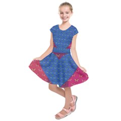 Butterfly Heart Pattern Kids  Short Sleeve Dress