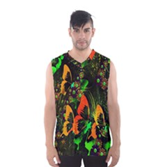 Butterfly Abstract Flowers Men s Basketball Tank Top by Nexatart