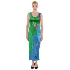Chinese Umbrellas Screens Colorful Fitted Maxi Dress by Nexatart