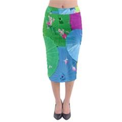 Chinese Umbrellas Screens Colorful Midi Pencil Skirt by Nexatart