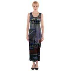 Christmas Boats In Harbor Fitted Maxi Dress by Nexatart
