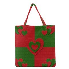 Christmas Fabric Hearts Love Red Grocery Tote Bag by Nexatart