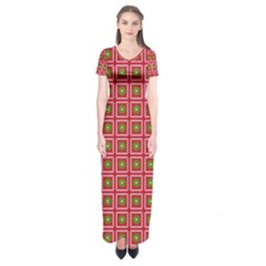 Christmas Paper Wrapping Short Sleeve Maxi Dress