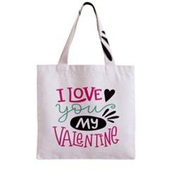 I Love You My Valentine (white) Our Two Hearts Pattern (white) Zipper Grocery Tote Bag by FashionFling