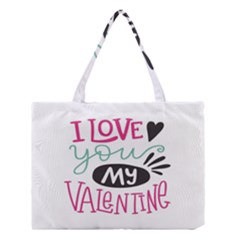 I Love You My Valentine (white) Our Two Hearts Pattern (white) Medium Tote Bag by FashionFling