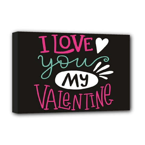 I Love You My Valentine / Our Two Hearts Pattern (black) Deluxe Canvas 18  X 12   by FashionFling