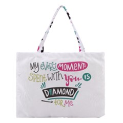 My Every Moment Spent With You Is Diamond To Me / Diamonds Hearts Lips Pattern (white) Medium Tote Bag by FashionFling
