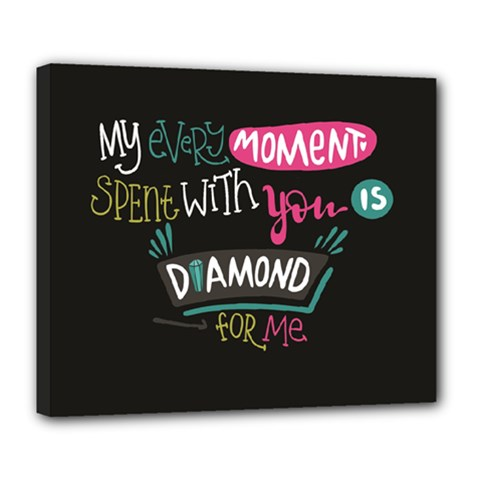 My Every Moment Spent With You Is Diamond To Me / Diamonds Hearts Lips Pattern (black) Deluxe Canvas 24  x 20   by FashionFling