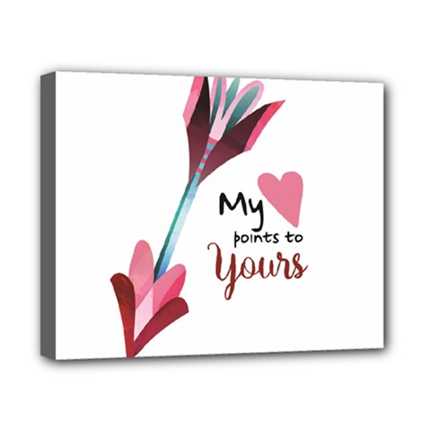 My Heart Points To Yours / Pink And Blue Cupid s Arrows (white) Canvas 10  x 8  by FashionFling