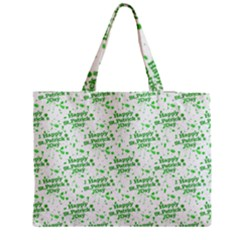Saint Patrick Motif Pattern Medium Zipper Tote Bag by dflcprints