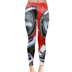 Classic Car Red Automobiles Leggings  by Nexatart