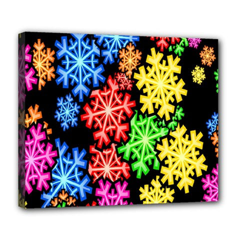 Colourful Snowflake Wallpaper Pattern Deluxe Canvas 24  X 20   by Nexatart