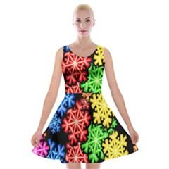 Colourful Snowflake Wallpaper Pattern Velvet Skater Dress