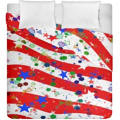 Confetti Star Parade Usa Lines Duvet Cover Double Side (king Size) by Nexatart