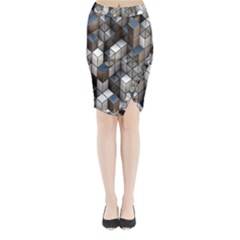 Cube Design Background Modern Midi Wrap Pencil Skirt