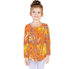 Crazy Patterns In Yellow Kids  Long Sleeve Tee by Nexatart