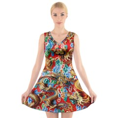 Dragons China Thailand Ornament V Neck Sleeveless Skater Dress by Nexatart