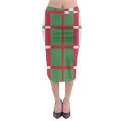 Fabric Green Grey Red Pattern Midi Pencil Skirt by Nexatart