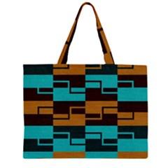 Fabric Textile Texture Gold Aqua Zipper Large Tote Bag by Nexatart