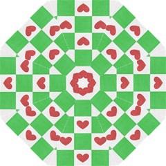 Fabric Texture Hearts Checkerboard Golf Umbrellas by Nexatart