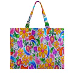 Floral Paisley Background Flower Zipper Mini Tote Bag by Nexatart