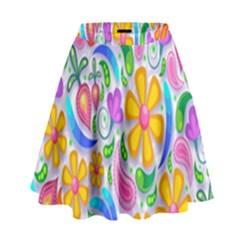 Floral Paisley Background Flower High Waist Skirt by Nexatart