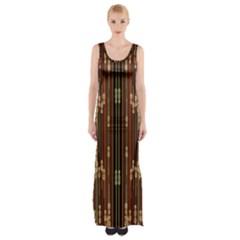 Floral Strings Pattern Maxi Thigh Split Dress by Nexatart