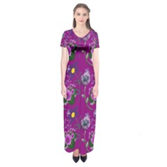 Flower Pattern Short Sleeve Maxi Dress