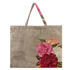 Flower Floral Bouquet Background Zipper Large Tote Bag by Nexatart
