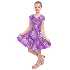 Flowers Abstract Digital Art Kids  Short Sleeve Dress