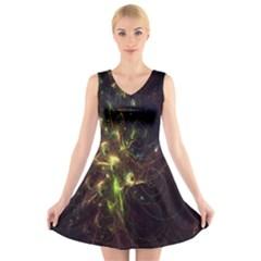Fractal Flame Light Energy V-Neck Sleeveless Skater Dress