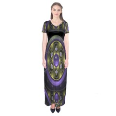 Fractal Sparkling Purple Abstract Short Sleeve Maxi Dress