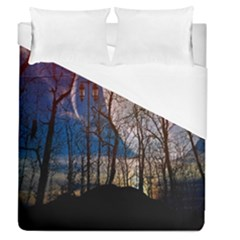 Full Moon Forest Night Darkness Duvet Cover (queen Size) by Nexatart