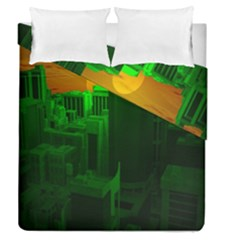 Green Building City Night Duvet Cover Double Side (Queen Size) by Nexatart