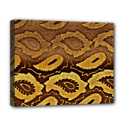Golden Patterned Paper Deluxe Canvas 20  X 16   by Nexatart