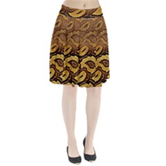 Golden Patterned Paper Pleated Skirt by Nexatart