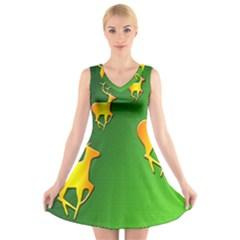 Gold Reindeer V-Neck Sleeveless Skater Dress