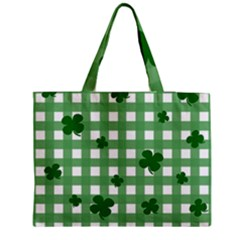 Clover pattern Medium Zipper Tote Bag by Valentinaart