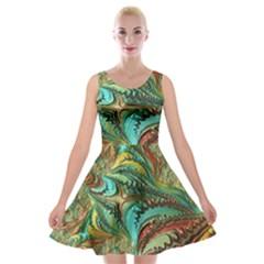 Fractal Artwork Pattern Digital Velvet Skater Dress