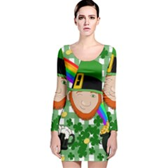 Lucky Irish Long Sleeve Velvet Bodycon Dress by Valentinaart